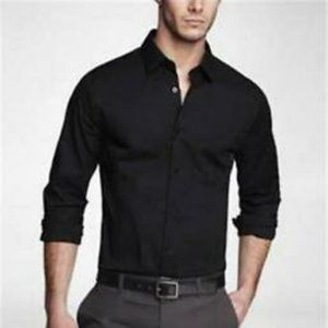 Express 1MX Mens Dress Shirt Black Extra Slim Fit